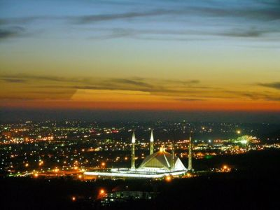 Islamabad and Faisal Mosque in Night